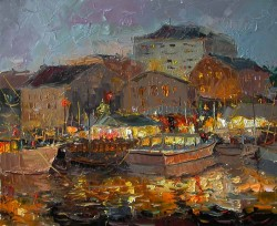Evening Town By Oleg Trofimov, Oil Painting