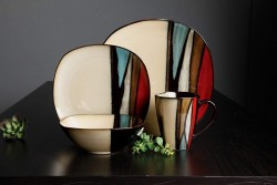 Gibson Elite 16 Piece Althea Reactive Glaze Dinnerware, Multicolor